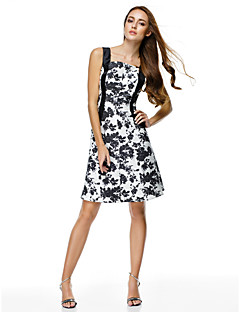 TS Couture® Cocktail Party Dress - Print A-line Straps Knee-length Polyester