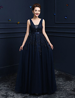 Formal Evening Dress - Dark Navy Ball Gown V-neck Floor-length Lace / Tulle