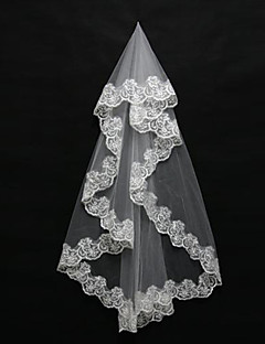 Wedding Veil One-tier Blusher Veils / Shoulder Veils / Elbow Veils / Fingertip Veils Lace Applique Edge Tulle White / Ivory