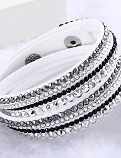 Dame Sjal Armbånd Unikt design Mote Multi Layer Luksus Smykker kostyme smykker Lær Strass Fuskediamant Smykker Smykker Til Bryllup Fest