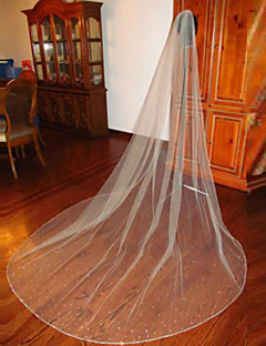 White / Ivory Wedding Veil One-tier Chapel Veils / Cathedral Veils Beaded Edge With Comb