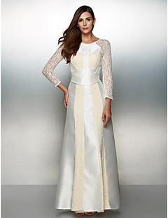 Formal Evening Dress - Ivory A-line Scoop Ankle-length Lace / Satin