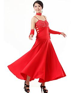 Dança de Salão Roupa Mulheres Actuação Viscose Cristal/Strass 4 Peças Luvas Vestidos Neckwear S:125   M:126   L:127   XL:128   XXL:128