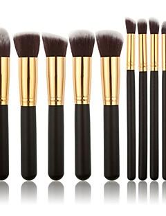 10pcs pennelli trucco professionale set fondazione cipria pennello ombretto oro / spazzola tubo d'argento