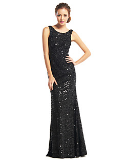 TS Couture® Formal Evening Dress - Black Trumpet/Mermaid Scoop Floor-length Sequined
