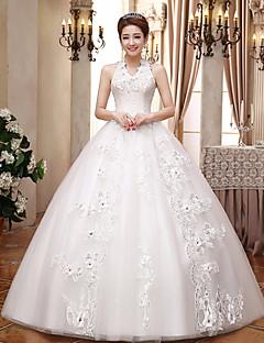 Ball Gown Wedding Dress - White Floor-length V-neck Lace / Satin / Tulle