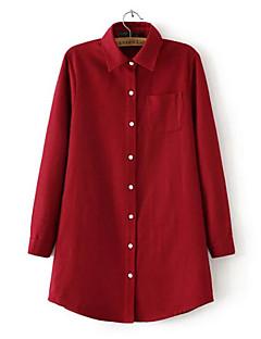 여성의 포켓 셔츠 카라 긴 소매 셔츠 면 / 아크릴