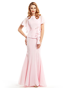 Trumpet/Mermaid Mother of the Bride Dress - Blushing Pink Floor-length Short Sleeve Chiffon