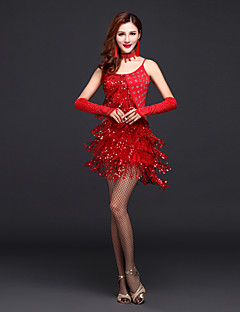 Latin Dance Dresses Women's Performance Polyester Sexy Tassel Dress with Gloves/Neckwear