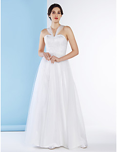 Lanting Bride A-line Wedding Dress-Ankle-length Straps Lace / Tulle