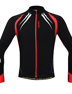 SANTIC Cycling Jacket Men's Long Sleeve Bike Thermal / Warm Windproof Anatomic Design Fleece Lining Front Zipper Reduces ChafingJacket