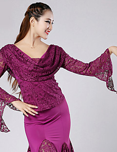 High-quality Lace with Pleated Ballroom Dance Tops for Women's Performance (More Colors)