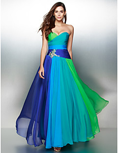 TS Couture Prom Formal Evening Dress - Color Block A-line Sweetheart Floor-length Chiffon with Crystal Detailing Criss Cross