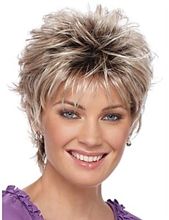 2016 New Curly Short Women Wigs Synthetic Hair Wig Blonde with Dark Roots Ombre hair Wig