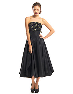 TS Couture® Cocktail Party Dress - Black A-line Strapless Tea-length Lace / Taffeta