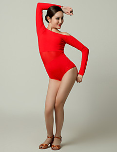 Imported Nylon Viscose with Pleated Latin Dance Leotards for Women's Performance(More Colors)