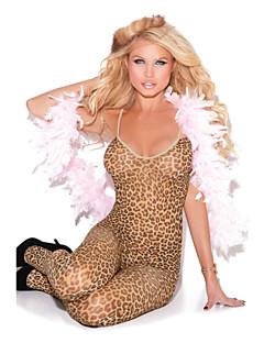 Feminino Super Sensual Roupa de Noite Leopardo Náilon Elastano Marrom