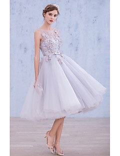 Cocktail Party Dress - Lavender A-line Bateau Tea-length Lace / Organza