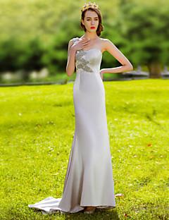 Fiesta formal Vestido - Plata Trompeta/Sirena Hasta el Suelo - Sobre un Hombro Satén