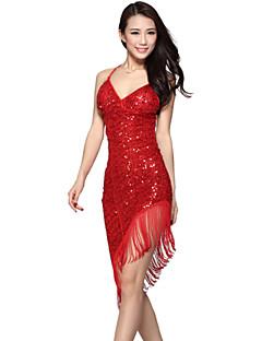 여성용 - 라틴댄스 / 삼바 - 드레스 ( 블랙 / 레드 / 로얄 블루 / 실버 , 스판덱스 / 폴리에스터 , 반짝이 )