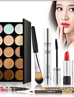 15 Correcteur/Contour+Mascara+Rouges à Lèvres+Pinceaux de Maquillage Humide Yeux Visage LèvresCils courbés Dense Longue Durée Correcteur