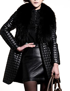 Women's Plus Size / Going out Vintage / Punk & Gothic Fur Coat,Solid V Neck Long Sleeve Winter Black Faux Fur / PU Medium