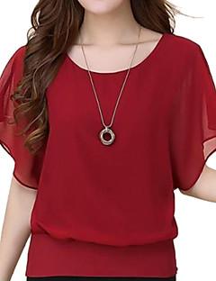 여성의 솔리드 라운드 넥 짧은 소매 블라우스,심플 캐쥬얼/데일리 블루 / 레드 / 화이트 / 블랙 / 퍼플 면 여름 중간