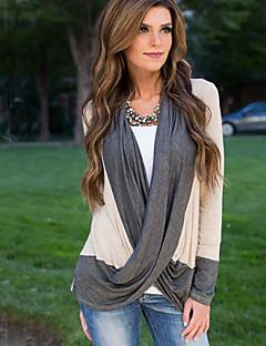 여성의 컬러 블럭 V 넥 긴 소매 티셔츠,심플 캐쥬얼/데일리 베이지 폴리에스테르 봄 중간