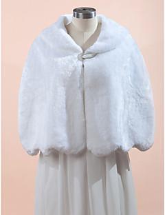 Wedding  Wraps Fur Wraps Capes Sleeveless Faux Fur Black White Wedding Party/Evening Wave-like Clasp