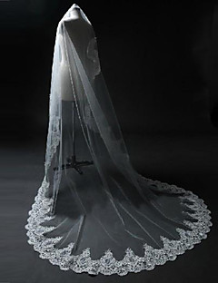 One-tier - Lace Applique Edge / Scalloped Edge - Vallende Sluier - Blusher Veils / Chapel Veils / Cathedral Veils ( White / Ivory ,