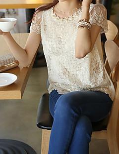 אחיד צווארון עגול פשוטה יום יומי\קז'ואל חולצה נשים,אביב שרוולים קצרים לבן בינוני (מדיום) אחרים