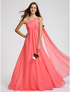 Lanting Bride® Floor-length Georgette Bridesmaid Dress - A-line One Shoulder with Criss Cross