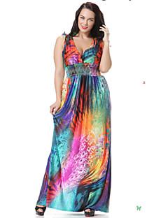 SWEET CURVE Women's Beach Skater Dress,Floral Deep V Maxi Sleeveless Purple Spandex Spring