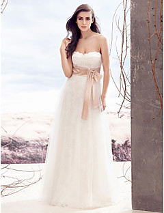Lanting Bride A-line Wedding Dress-Floor-length Strapless Lace / Tulle