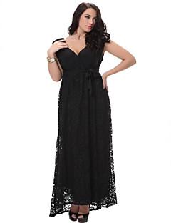 SWEET CURVE Women's Beach Loose / Swing Dress,Solid Deep V Midi Sleeveless Black Polyester Spring