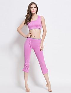 Mulheres Sem Mangas Corrida Sutiã Esportivo Roupa-Interior Conjuntos de Roupas/Ternos CalçasSecagem Rápida Sem costura Suave Resistente
