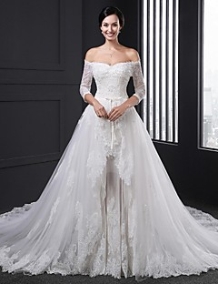 Ball Gown Wedding Dress-White Chapel Train Strapless Tulle