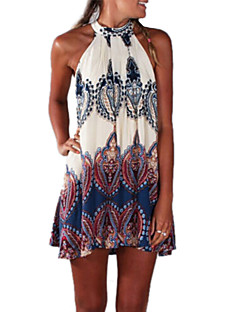 Women's Off The Shoulder/Lace Sexy Beach Casual Party Print Mini Dress