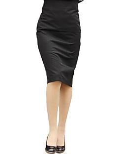 BODYCON do vintage inelásticos saias na altura do joelho de comprimento médio das mulheres (misturas de algodão)