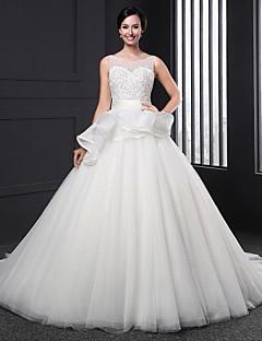 A-line Wedding Dress-Chapel Train Jewel Lace