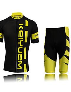 KEIYUEM חולצת ג'רסי ומכנס קצר לרכיבה לנשים יוניסקס שרוול קצר אופנייםעמיד למים נושם ייבוש מהיר עמיד מבודד מוגן מגשם עמיד לאבק דחיסה חומרים
