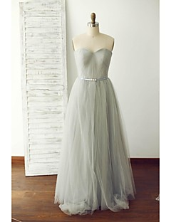 Floor-length Tulle Bridesmaid Dress A-line Sweetheart with Sash / Ribbon / Side Draping