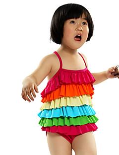 Menina de Roupa de Banho Arco-Íris Náilon / Elastano Verão Colorido