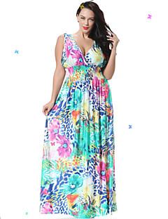 süßen Kurve Frauen Strand Skater Kleid, Blumen tiefen V maxi ärmellos blau Spandex Frühling