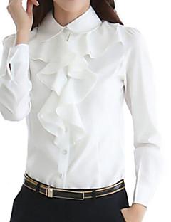 Women's Formal Simple Spring / Fall Shirt,Solid Shirt Collar Long Sleeve White / Black Polyester Medium
