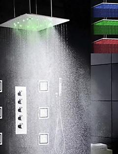 ברז למקלחת - עכשווי - LED / מקלחת גשם / התזת צד / שפורפרת יד כלולה - Brass (כרום)
