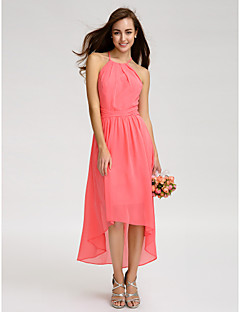 Lanting Bride® Asymmetrical Georgette Bridesmaid Dress - A-line Spaghetti Straps with Ruching