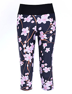 Dame Løb 3/4 Tights Leggins Bukser Underdele Komprimering Forår Sommer Efterår Yoga Træning & Fitness Polyester StramYdeevne Fornøjelse