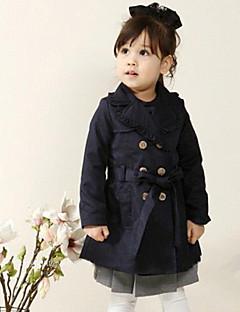 Mädchen Trenchcoat einfarbig Baumwolle Herbst / Frühling Blau