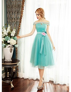 Cocktail Party Dress - Sage Ball Gown Off-the-shoulder Tea-length Tulle